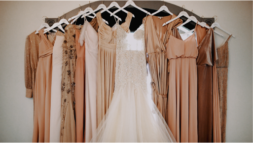 Bride and bridesmaid dresses hanging up